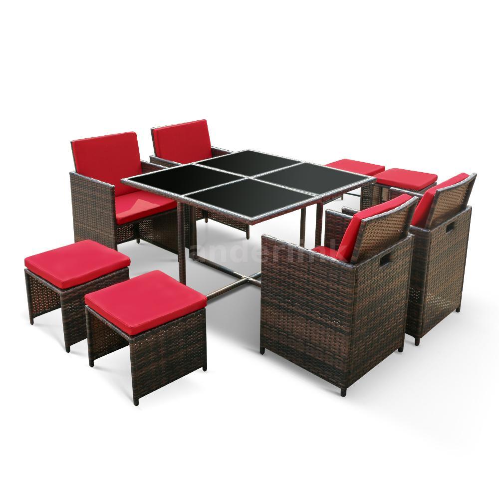 ikayaa 9pcs patio garden table stools single sofa set. Black Bedroom Furniture Sets. Home Design Ideas