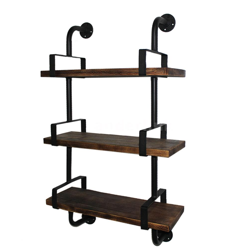 3 tier rustic industrial iron pipe wall shelves w wood. Black Bedroom Furniture Sets. Home Design Ideas