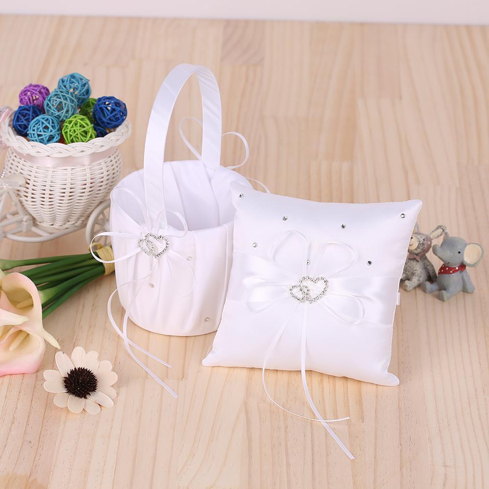 double heart satin ring bearer pillow and wedding flower girl basket set p4c0 ebay. Black Bedroom Furniture Sets. Home Design Ideas