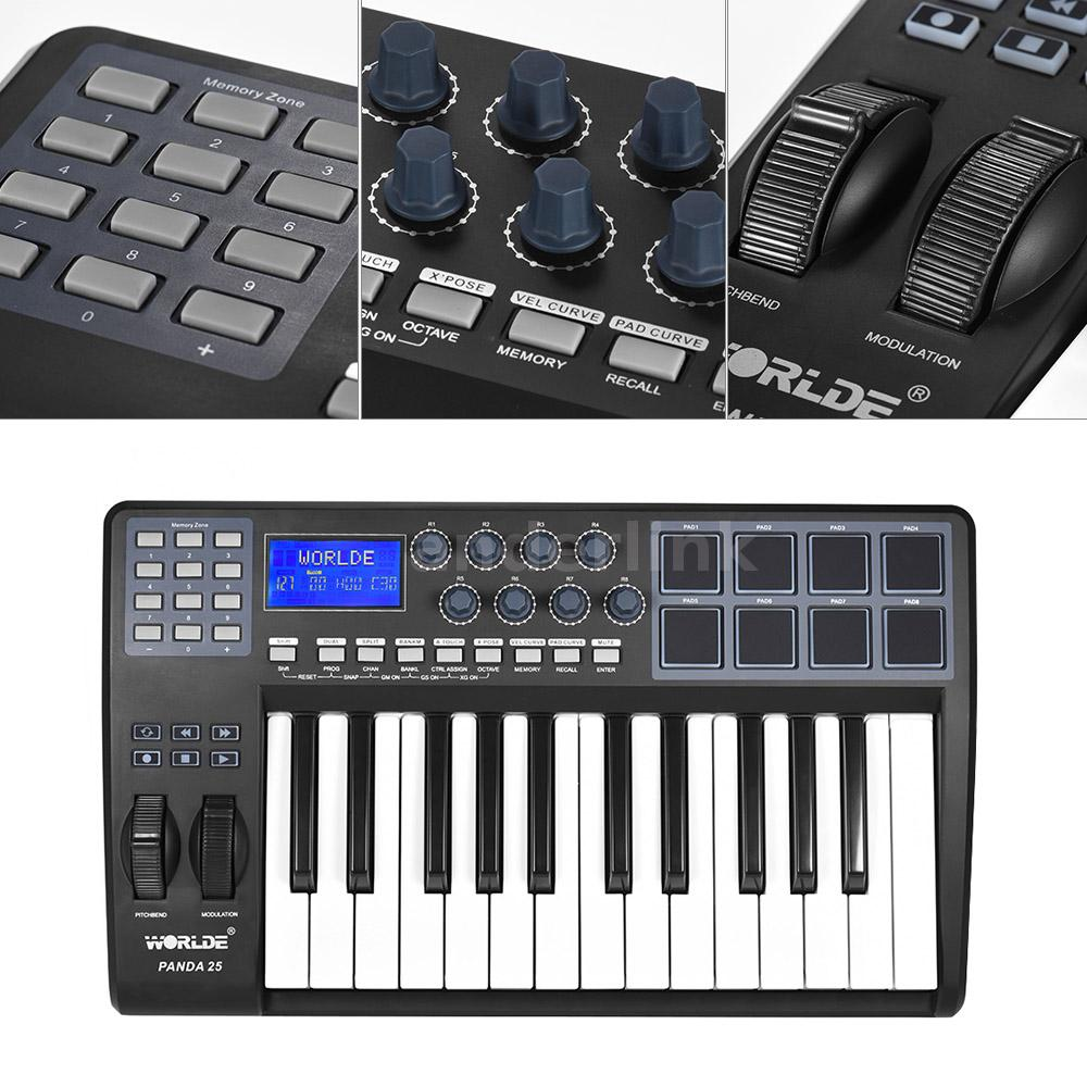panda25 25 key ultra portable usb midi keyboard 8 drum pads controller usb a5r6 ebay. Black Bedroom Furniture Sets. Home Design Ideas