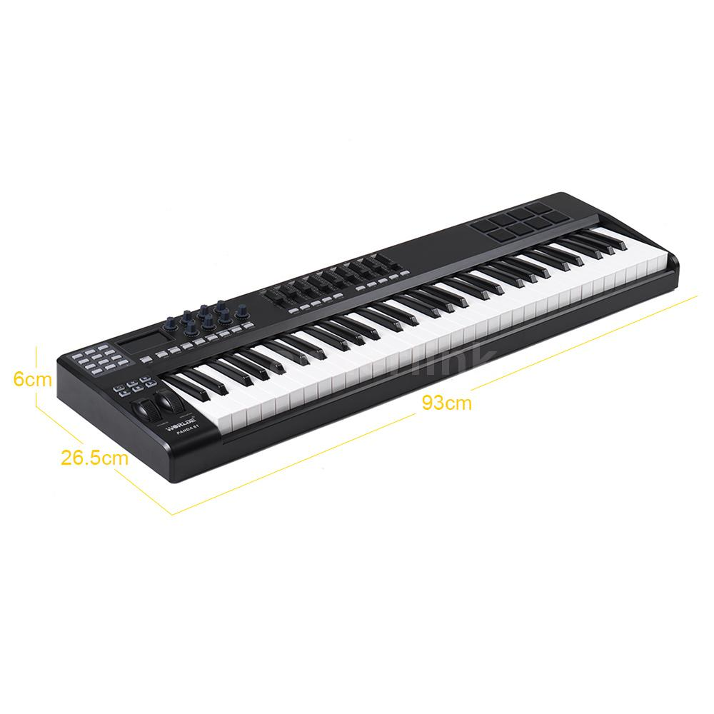 panda61 61 key usb midi keyboard controller 8 drum pads with usb cable o8q8. Black Bedroom Furniture Sets. Home Design Ideas
