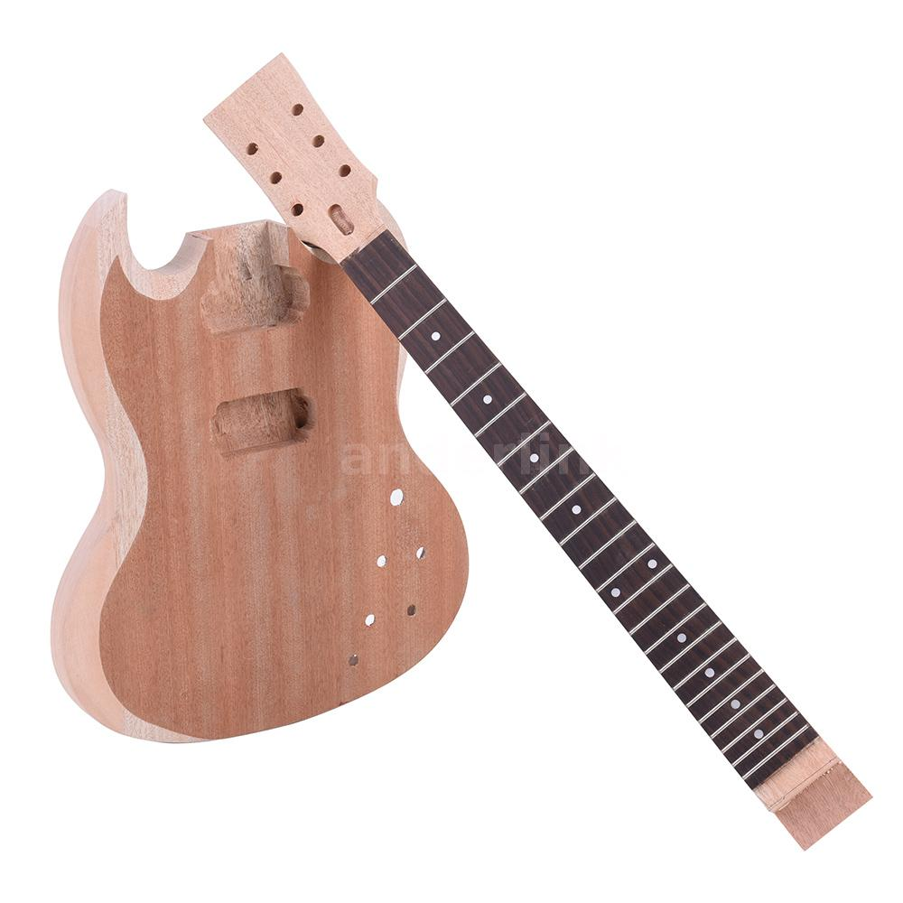 unfinished diy electric guitar kit mahogany body neck rosewood fingerboard z8a0 ebay. Black Bedroom Furniture Sets. Home Design Ideas