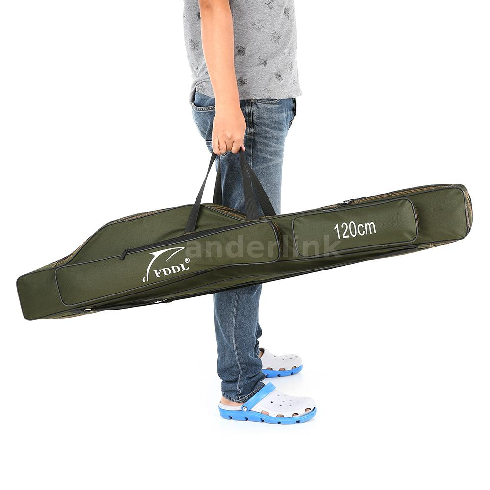 New portable folding fishing rod carrier canvas pole tools for Fishing rod tote